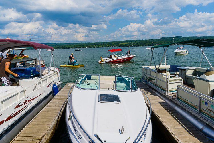 Boats on Keuka Lake outside the Waterfront Restaurant.