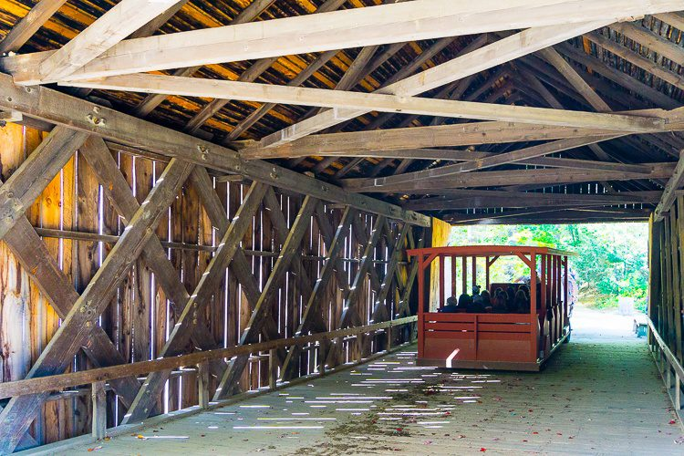 The horse and buggy ride goes through this awesome covered bridge.