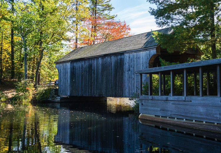 An outer view of the covered bridge, Old Sturbridge Village