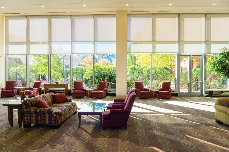 The sunny lobby of the Southbridge Hotel.