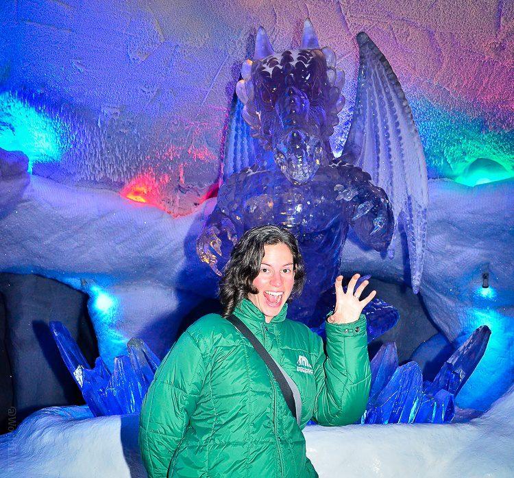 Me with a dragon ice sculpture in Ski Dubai.