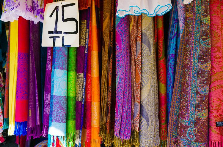 Want a bright scarf? It only costs five dollars!