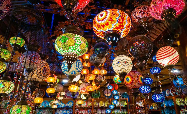 Gorgeous rainbow lamps at the market in Sirince, Turkey.