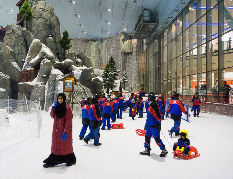 Ski Dubai is inside the massive Mall of the Emirates, and is so cold, you need to borrow their jackets!