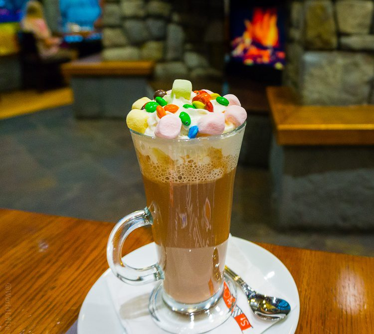 The prettiest hot chocolate, sipped in front of a fireplace.
