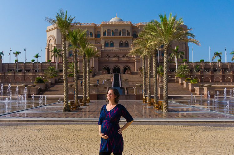 Wearing one of my favorite maternity dresses at Emirates Palace in Abu Dhabi.