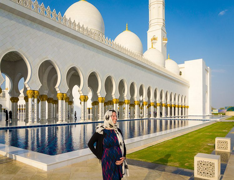 To visit the Grand Mosque in Abu Dhabi, I wore a reversible Nouveau Sheath on the high-neck side, plus loose black pants and a headscarf.