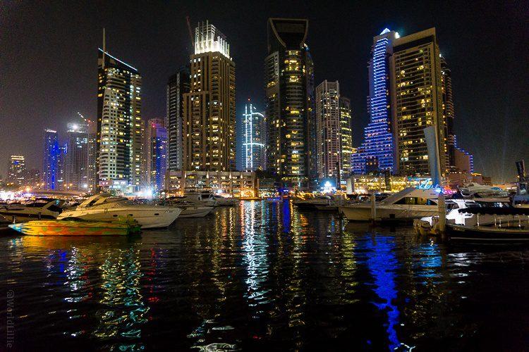 The Dubai Marina is stunning at night.