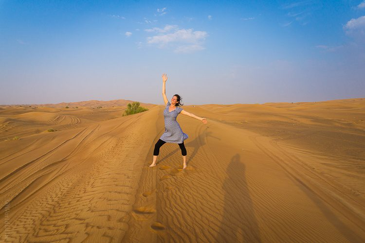 Belly and me in the United Arab Emirates desert.