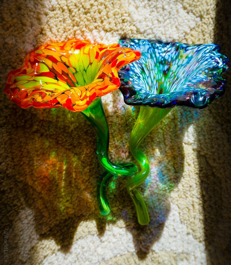 Colin and my completed glass flowers!