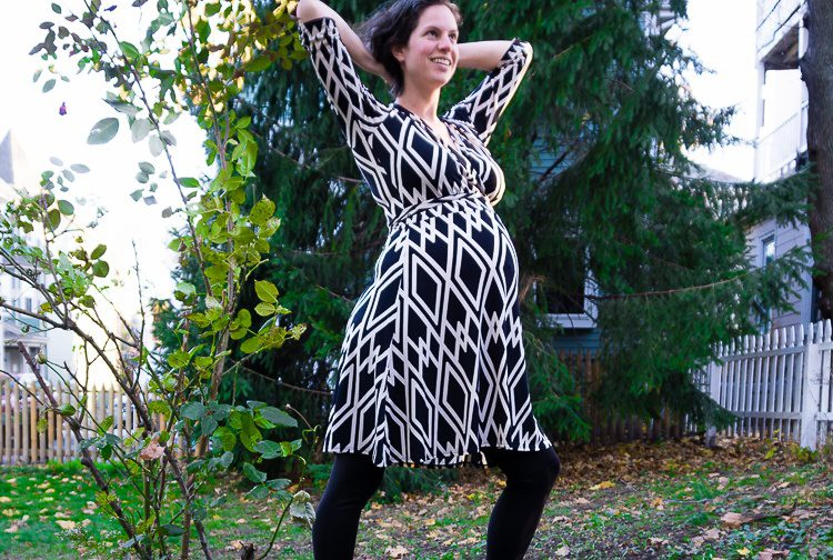 A Perfect Wrap maternity dress. You can tell by the greenery that this photo was taken back in Boston!