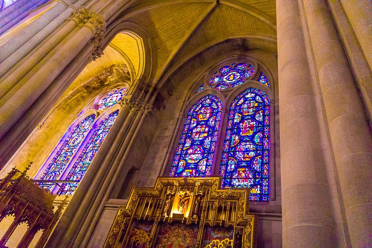 The stained glass windows are beautiful.