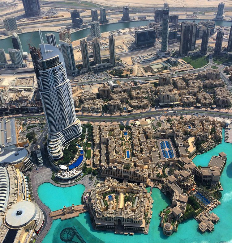 Futuristic Dubai, spied from the tallest building in the world.