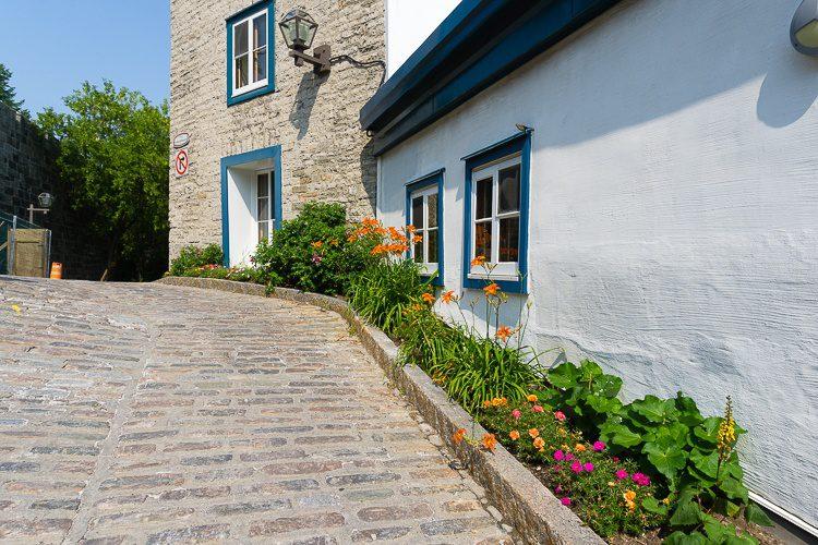 A steep cobblestone hill.