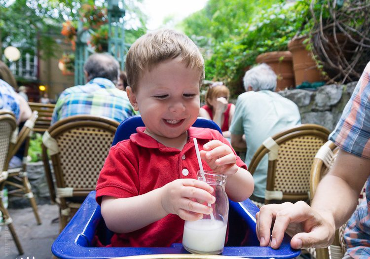 Dining al fresco is the thing to do during a Quebec summer. Our little guy loved it, too!