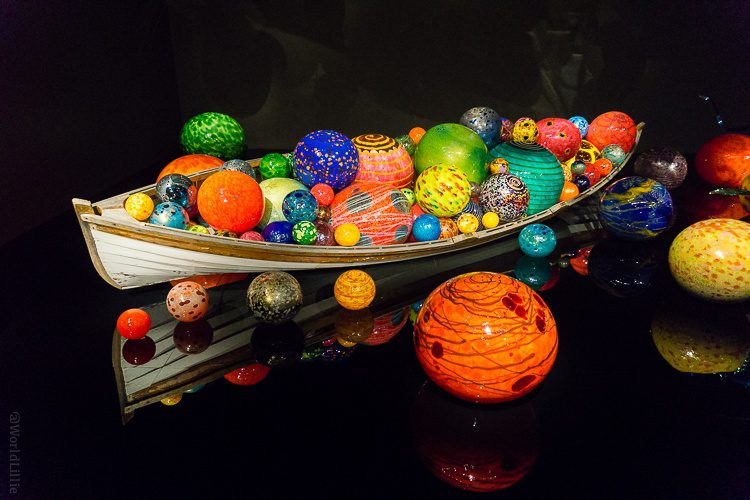 Chihuly glass art: Beautiful boat of glass balls.