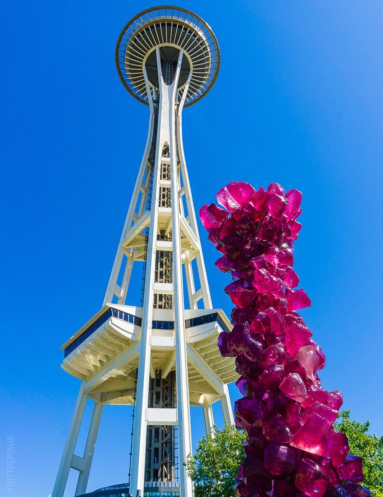 Space Needle and magenta glass geode.