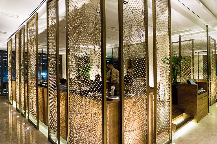 I love this golden cage in the center of the restaurant.
