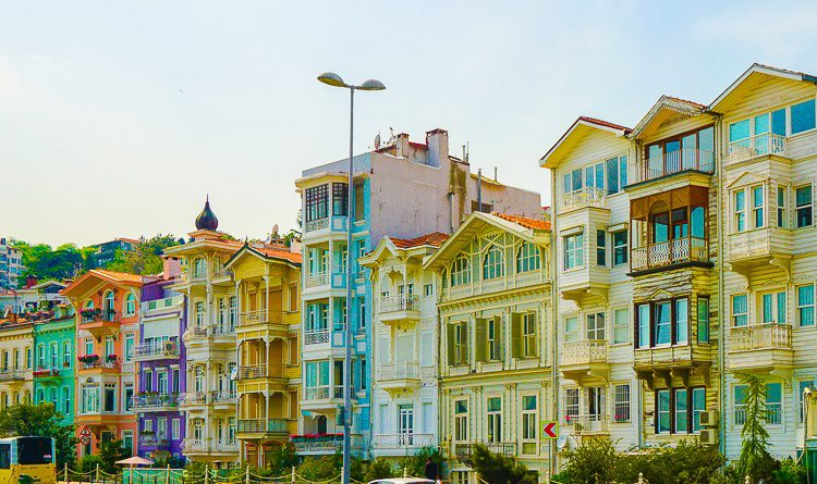 Colorful houses along the Bosphorus Strait.