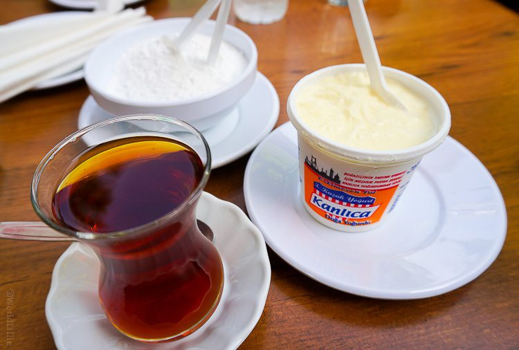 Turkish tea, Turkish yogurt, and powdered sugar for the yogurt.