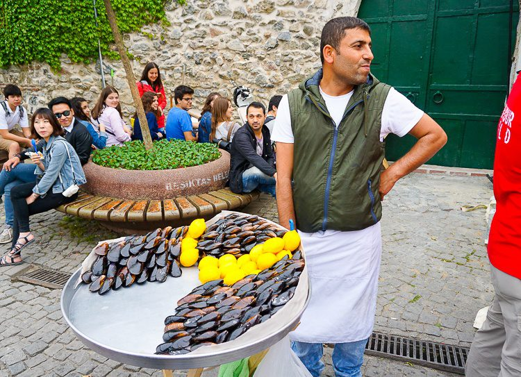 Stuffed mussels with lemon: A common street food in Istanbul.