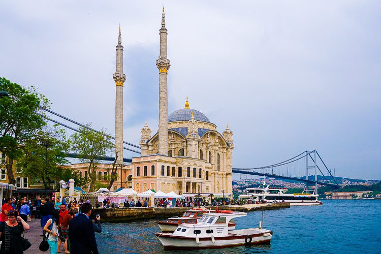 Ortakoy Mosque is a visual highlight of the yummy Ortakoy neighborhood of Istanbul.