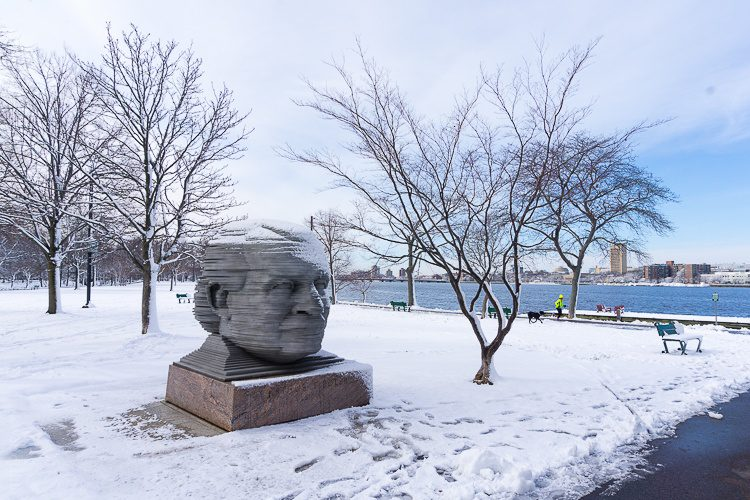 A head statue on Boston's Esplanade.