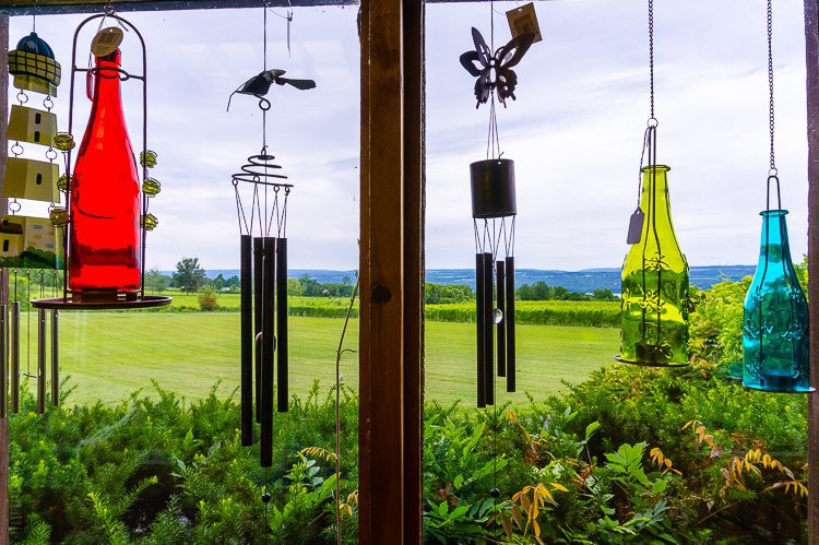 I love these bottle decorations at Wagner Vineyards!