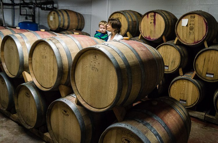 A smooch with Nana in the wine barrels.