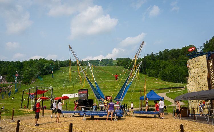 Bungee bouncy trampoline and rock climbing wall!