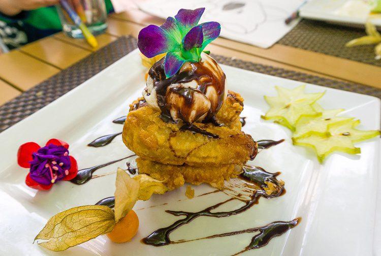 Deep-fried banana, ice cream, and flowers. Yum!