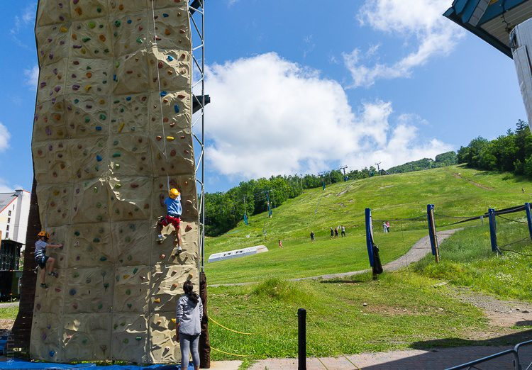 Climbing wall excitement.