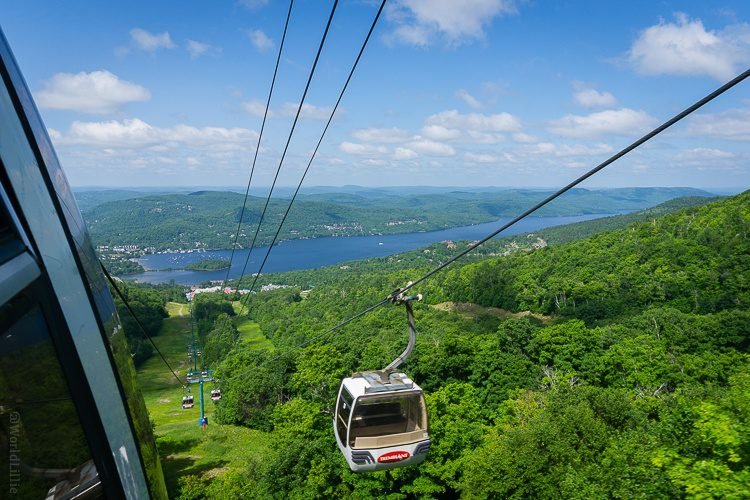 This gondola flies you up to the top of the mountain from the village.