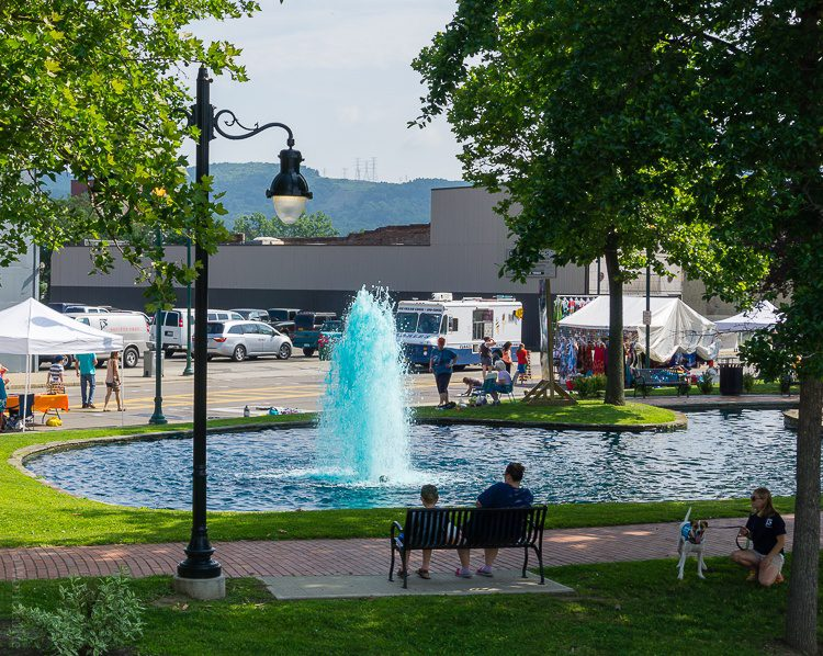 The blue colored fountain in central Elmira.