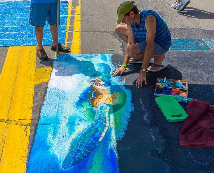 A sidewalk chalk turtle.