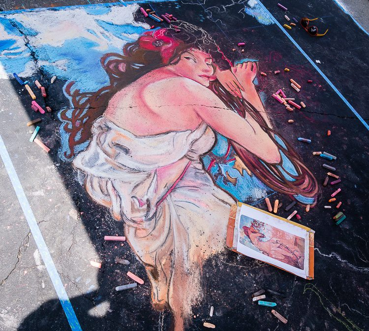 A beautiful woman created in chalk.