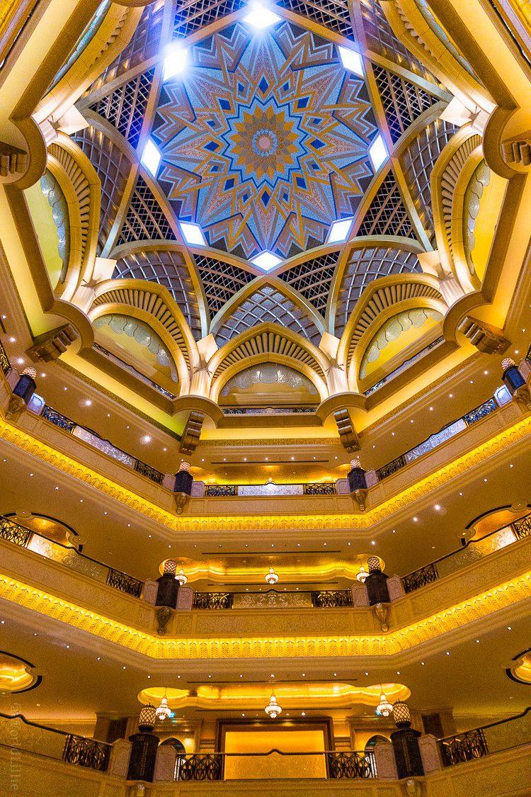 Domed atrium ceiling of Emirates Palace. Abu Dhabi, UAE