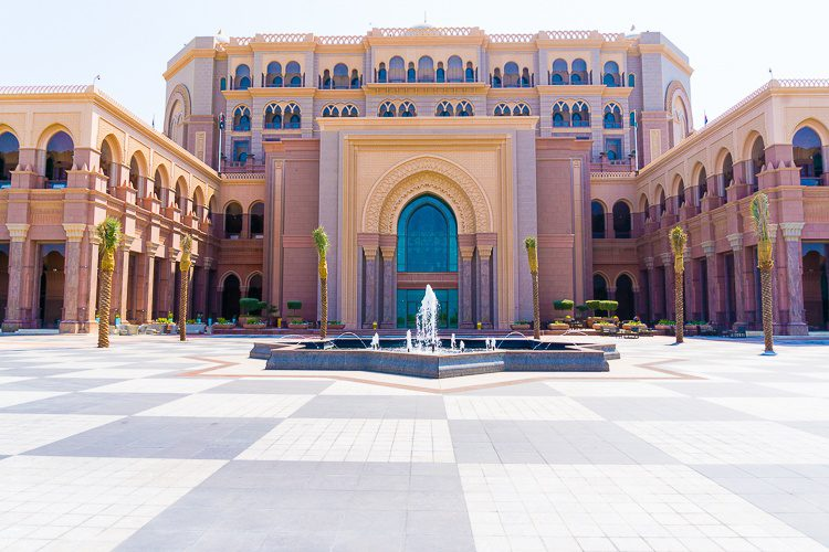 Emirates Palace, Abu Dhabi and fountain from the back