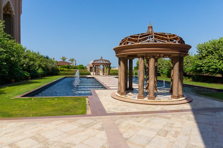 Emirates Palace Abu Dhabi gardens and fountains