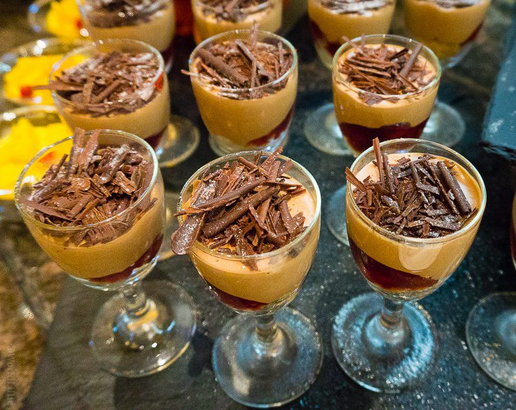 Chocolate mousses in the buffet.