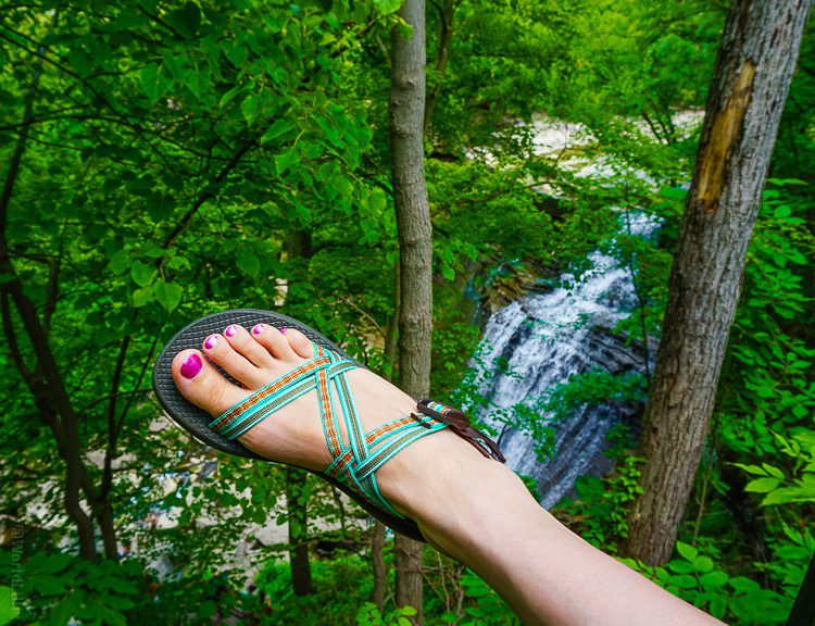 My new Z/Cloud X Chaco sandals in Fired Adobe, by Brandywine Falls, Ohio.