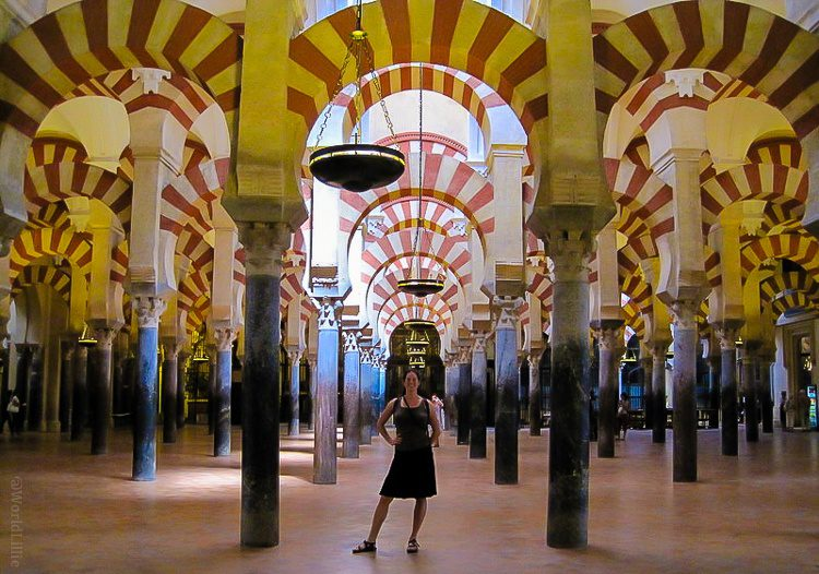 With my favorite shoes at La Mezquita of Cordoba, Spain.