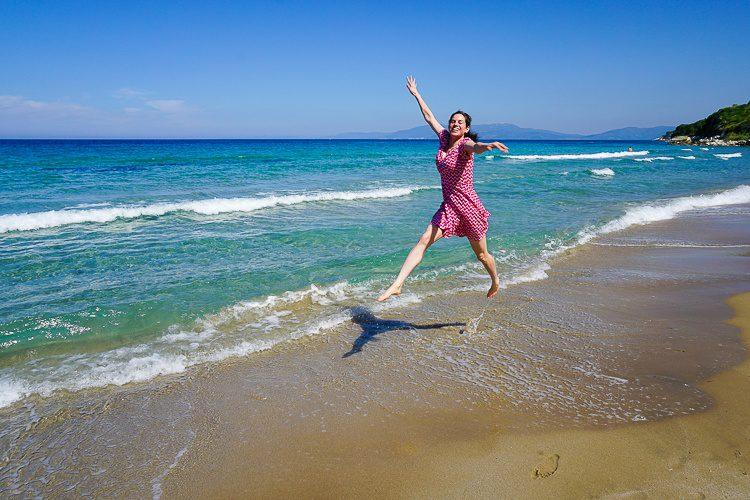 Me leaping in the ocean.