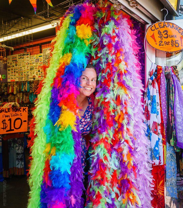 Provincetown, MA Commercial Street rainbow boas
