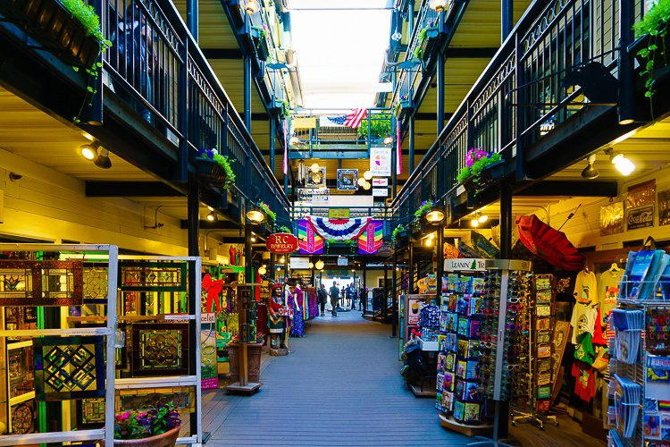Provincetown shopping arcade off Commercial Street.
