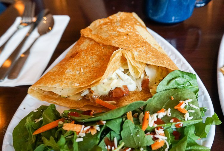 The luscious turkey, bacon, slaw crepe at Studio Crepe by the train station.