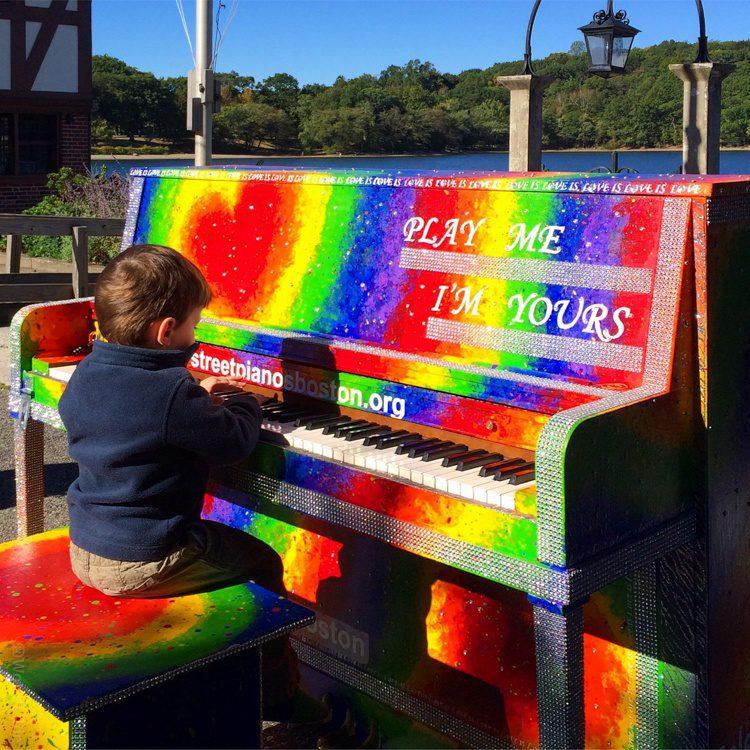 Public art like this rainbow piano is a Jamaica Pond staple.