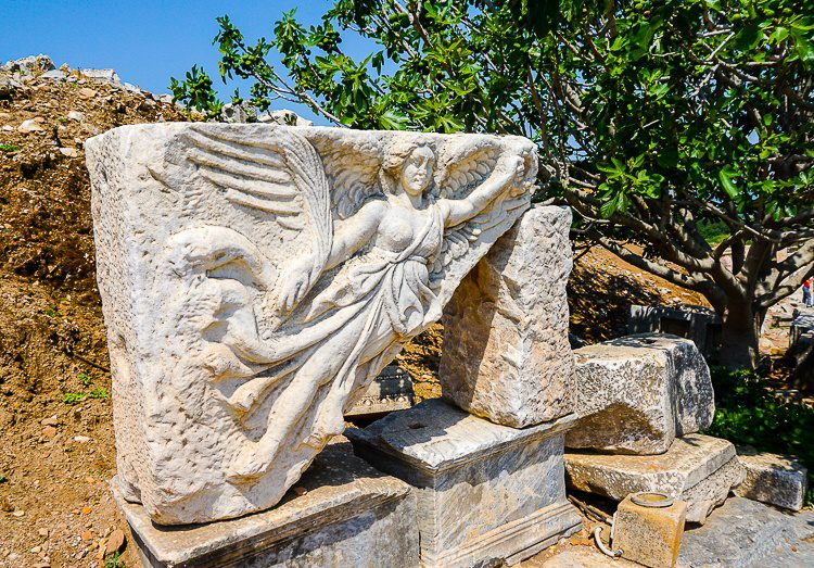 Ephesus statue: carving of goddess Nike, almost 2,000 years old