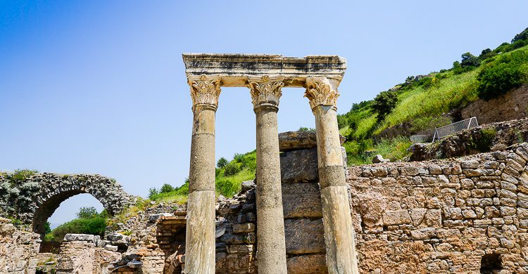 Majestic ancient columns of Ephesus.