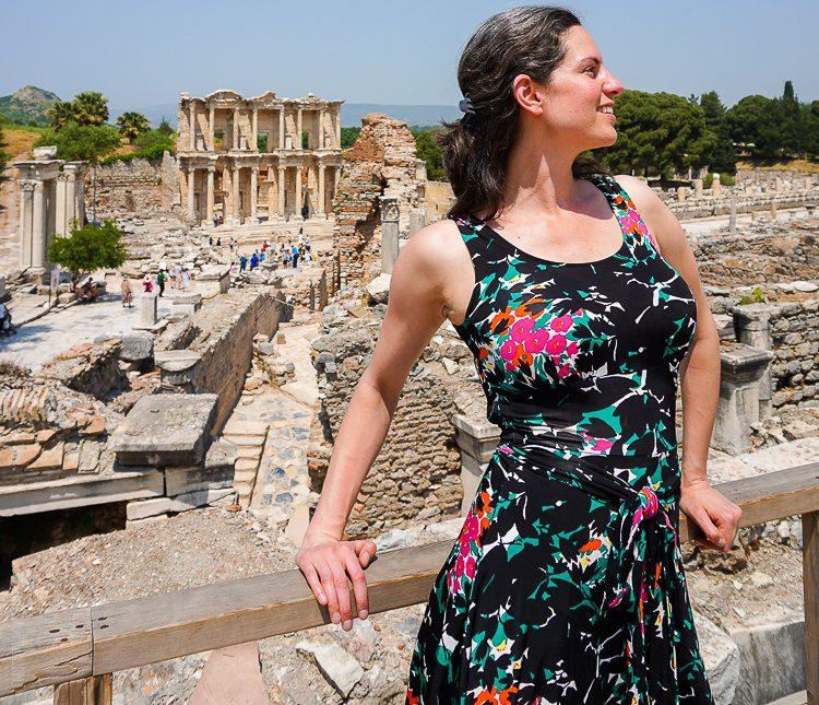 Ephesus Turkey with a travel dress